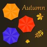 Ejemplo del otoño con los paraguas y las hojas libre illustration
