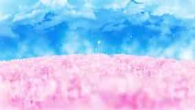Ejemplo del paisaje del bosque de la primavera, fondo abstracto de la naturaleza, animación del lazo de la flor de cerezo, ilustración del vector