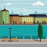 Ejemplo del paisaje de la ciudad de Europa del vintage Edificios de la ciudad a lo largo del río Ejemplo hermoso de la historieta libre illustration