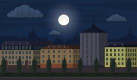 Ejemplo del paisaje de la ciudad de la noche Edificios de la ciudad a lo largo de la calle ancha con los árboles Ejemplo hermoso  ilustración del vector