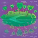 Ejemplo del paisaje de la fantasía Bosque y cielo Imagen de archivo libre de regalías