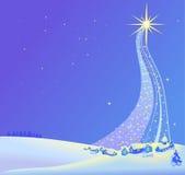 Ejemplo del paisaje de la Navidad de la estrella Imagen de archivo libre de regalías