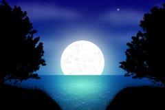 Ejemplo del paisaje de la noche de la fantasía con las siluetas libre illustration