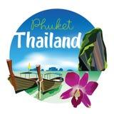 Ejemplo del paisaje de la playa de Phuket Tailandia con la orquídea ilustración del vector