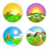 Ejemplo del paisaje del campo con el heno, el campo, el pueblo y el molino de viento Sistema del icono del paisaje de la granja Imagen de archivo libre de regalías