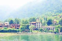 Ejemplo del paisaje italiano de la acuarela stock de ilustración
