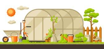Ejemplo del paisaje del jardín con las plantas y las herramientas Concepto que cultiva un huerto de la estación ilustración del vector