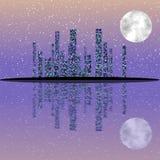 Ejemplo del paisaje urbano de la noche con los edificios en la isla Cielo de la Luna Llena stock de ilustración