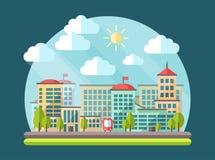 Ejemplo del paisaje urbano del diseño plano Foto de archivo