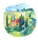 Ejemplo del paisaje del verano en Toscana, Italia ilustración del vector