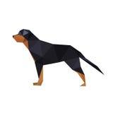 Ejemplo del perro abstracto del rotteweiler de la papiroflexia Foto de archivo