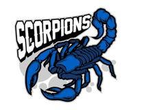 ejemplo del personaje de dibujos animados azul de la mascota del escorpión adentro ilustración del vector