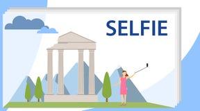 Ejemplo del personaje de dibujos animados de la muchacha de Selfie Una muchacha hace un selfie en el fondo de atracciones históri stock de ilustración