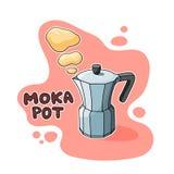 Ejemplo del pote de Moka Imagen de archivo libre de regalías