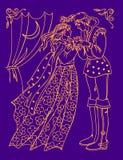 Ejemplo del príncipe y de la princesa de la reunión antigua del cuento de hadas en la noche Cartel de la boda Imagen de la histor stock de ilustración
