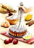 Ejemplo del proceso de hacer una tarta de crema ilustración del vector