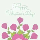Ejemplo del ramo de día de tarjetas del día de San Valentín de las rosas ilustración del vector