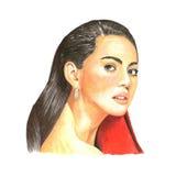 Ejemplo del retrato del rostro humano de la mujer foto de archivo