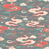 Ejemplo del rojo estilizado, abstracto, de la aguamarina, de la crema y de nubes verdes olivas libre illustration