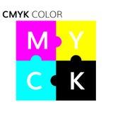 Ejemplo del rompecabezas del esquema de color de CMYK ilustración del vector