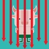 Ejemplo del símbolo del toro de la tendencia del mercado de acción Foto de archivo