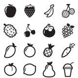 Ejemplo del símbolo del vector de los iconos de la fruta Fotos de archivo
