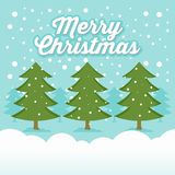 Ejemplo del saludo de la Feliz Navidad del invierno Nevado Fotos de archivo libres de regalías