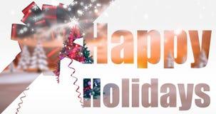 Ejemplo del saludo de la Navidad con buenas fiestas el mensaje ilustración del vector