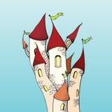 Ejemplo del scetch del castillo de la historieta Imágenes de archivo libres de regalías