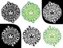 Ejemplo del sello de la silueta de la hoja del verde del cáñamo de la marijuana Fotos de archivo