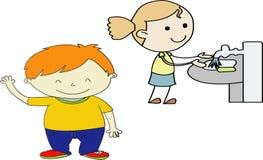 Ejemplo del Sin título-vector de los niños divertidos que juegan - vectorielles de las imágenes que cepillan los dientes --saludo ilustración del vector