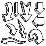 Ejemplo del sistema hecho a mano de la flecha del vector del garabato de la acuarela del bosquejo del Grunge ilustración del vector