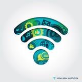 Ejemplo del símbolo de la señal de Wifi con medios concepto social Imagenes de archivo