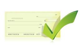 Ejemplo del talonario de cheques y de la marca de verificación del banco Foto de archivo libre de regalías