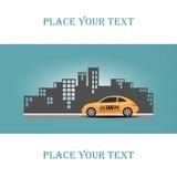 Ejemplo del taxi en fondo de la ciudad Fotografía de archivo