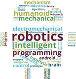 Ejemplo del texto de la nube de la palabra de la robótica stock de ilustración