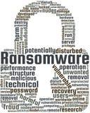 Ejemplo del texto de la nube de la palabra de Ransomware en la forma del candado ilustración del vector