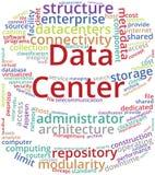 Ejemplo del texto de la nube de la palabra del centro de datos en la forma del estante del servidor ilustración del vector