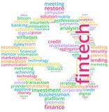Ejemplo del texto de la nube de la palabra de Fintech stock de ilustración