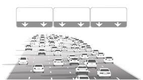 Ejemplo del tráfico de autopista de la carretera de la autopista sin peaje con las muestras en blanco ilustración del vector