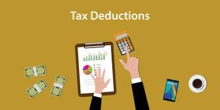 Ejemplo del trabajo para contar un cálculo de las deducciones fiscales con papeleos y la calculadora encima de la tabla foto de archivo libre de regalías