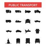 Ejemplo del transporte público, línea fina iconos, muestra plana linear ilustración del vector