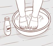 Ejemplo del tratamiento del agua salada en los pies Imágenes de archivo libres de regalías