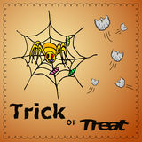 Ejemplo del truco o de la invitación con el hombre araña y los fantasmas Foto de archivo