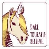Ejemplo del unicornio con el texto de la motivación; ejemplo E del vector foto de archivo libre de regalías