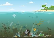 Ejemplo del vector del agua del océano lleno de basura peligrosa en la parte inferior Eco, concepto de la contaminación de agua B stock de ilustración