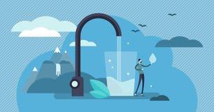 Ejemplo del vector del agua potable Concepto potable fresco de consumición minúsculo de la persona stock de ilustración