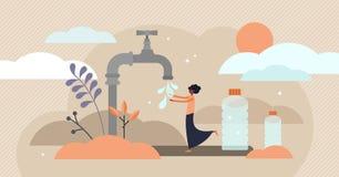 Ejemplo del vector del agua potable Concepto potable minúsculo plano de la persona de África libre illustration