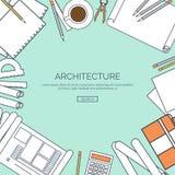 Ejemplo del vector, alineado Proyecto arquitectónico plano Trabajo en equipo Planeamiento del edificio Arquitectura de la constru libre illustration
