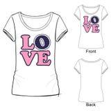 Ejemplo del vector del amor de la palabra para la camiseta Una palabra integrada por las letras puestas en uno a en una columna e ilustración del vector